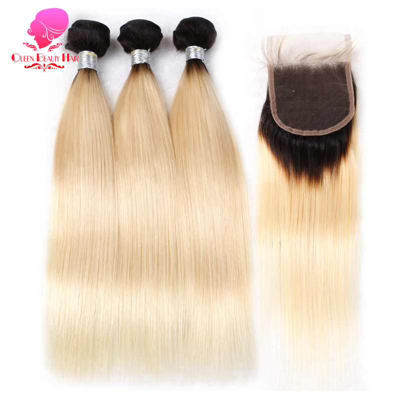 QUEEN BEAUTY 3 Bundles and Closure 2 Tone Dark Roots 1B 613 Ombre Blonde Brazilian Straight