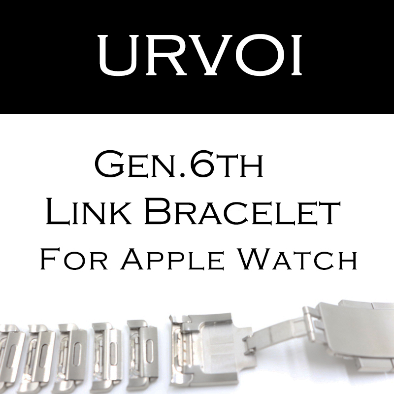 URVOI link bracelet band for apple watch series 3 2 1 strap for iWatch adjustable high quality stainless steel strap gen.6 link bracelet stainless steel watch band for apple watch band series 3 2 1 strap for iwatch adjustable high quality