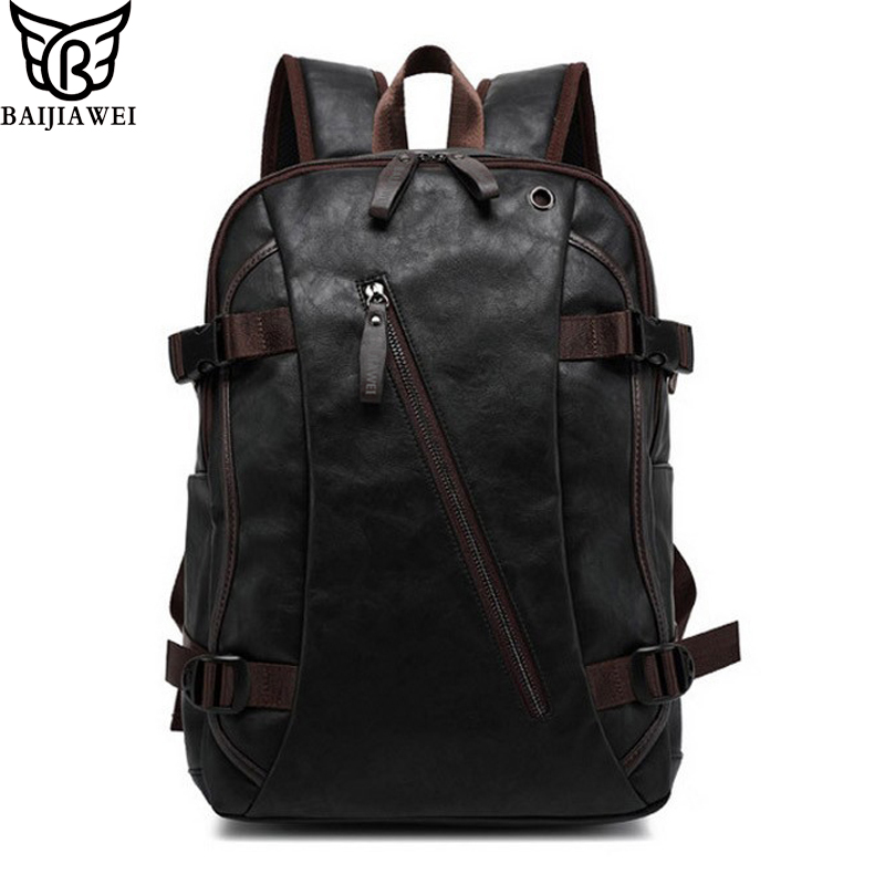 BAIJIAWEI Mix Oxhide Leather Backpack Mix Leather Mens Casual Backpack & Travel Bags College Style Bag Mochila Zip