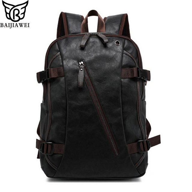 Baijiawei Mix Oxhide Leather Backpack Men S Casual Travel Bags College Style Bag