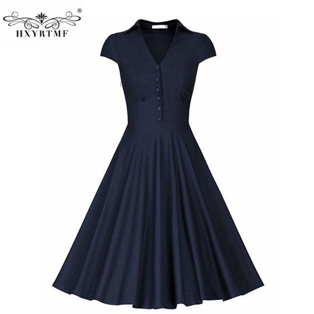 Vintage Brand Audrey Hepburn Style Women Summer Fashion Solid Elegant Party Dress V Neck Dresses Las