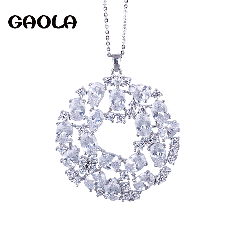 2015 NEW design pendant white GOLD necklace jewelry ,AAA CZ ...
