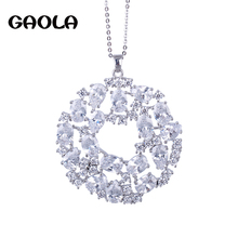 Фотография 2015 NEW design pendant 18K white GOLD necklace jewelry ,AAA CZ necklace jewelry GLD0667