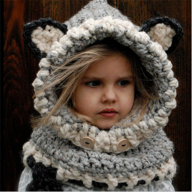 New Korean Winter Warm Neck Wrap Fox Scarf Caps Cute Autumn Children Wool  Knitted Hats Baby Girls Shawls Hooded Cowl Beanie Caps bbd269f0453f