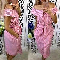 Women-Casual-Blue-Striped-Off-The-Shoulder-Party-Dress-Sleeveless-Straight-Knee-Length-Vintage-Dress-2018-Summer-Women-Dresses-3
