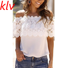 KLV 2017  Women Summer T-shirt Fashion White Lace Vest Top Tank Casual Tops Off Shoulder Short-sleeved Loose Type