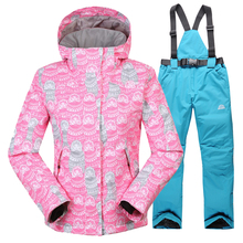 2017 Winter Clothing womens Ski Suit Girl jackets + Jumpsuit pants Set Waterproof Windproof Breathable Clothes warm wind jacket