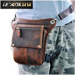 حقيبة ساعي البريد صغيرة عصرية بتصميم كلاسيكي من جلد البقر الطبيعي للرجال بحزام خصر لحمل الهاتف حقيبة بأرجل متدلية 211-4