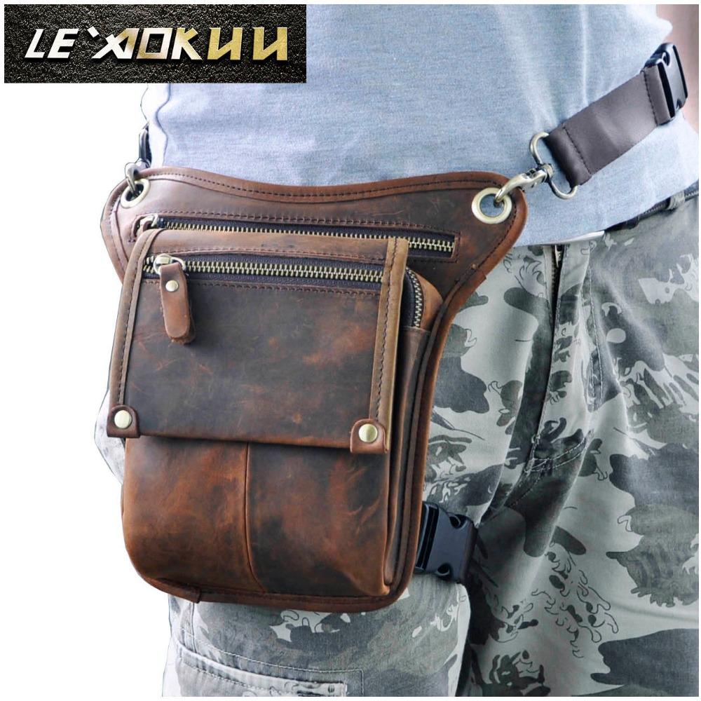Cowhide Real Leather Men Retro Fashion Små Skulder Messenger Sling Bag Design Talje Bæltepakke Telefonpose Drop Leg Bag 211-4