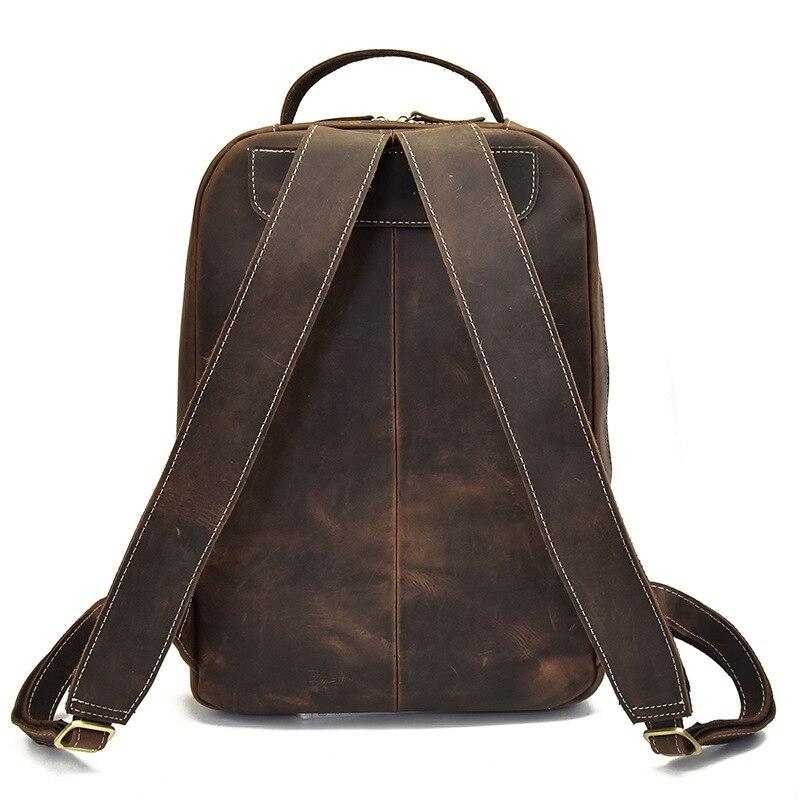 Мужской рюкзак прочный Crazy Horse кожа мужские сумки на плечо верхний слой кожа Повседневная Большая емкость Мужской рюкзак для ноутбука - 3