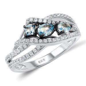 Image 2 - SANTUZZA כסף טבעות לנשים 925 סטרלינג כסף כחול אבן טבעות מעוקב Zirconia טבעת טרנדי המפלגה תכשיטים