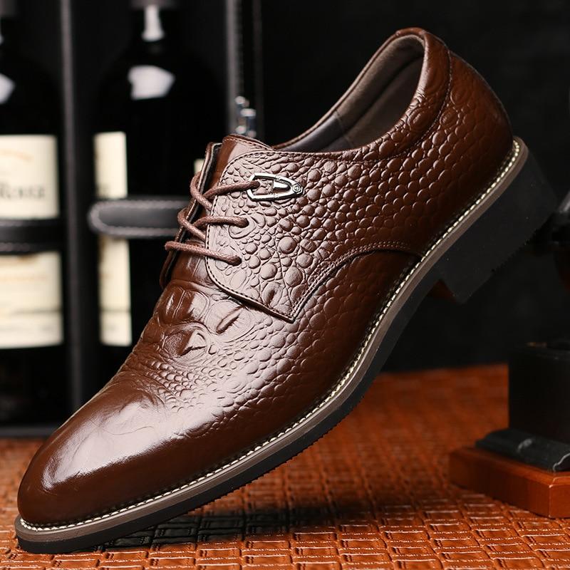 2019 Мужские модельные туфли из кожи люксовый бренд крокодиловая кожа острый носок модельные туфли мужские офисные итальянские туфли-оксфор...