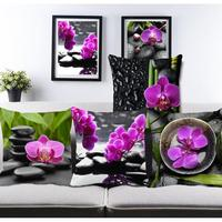 Purple Flowers Cushions Home Decor Pillows New 2015 Signature Cotton Cecorative Cushion Specialized Pillow Car