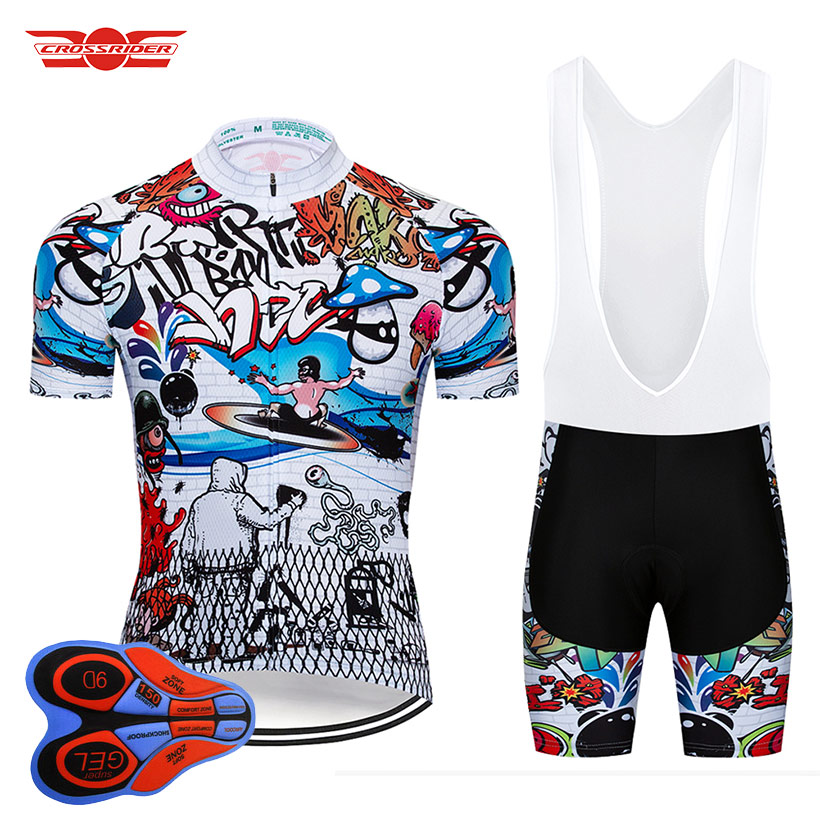 Crossrider 2019 Art Cycling Jersey 9D Set MTB Uniform Bicycle Clothing Quick-Dry Bike Wear Clothes Men's Short Maillot Culotte