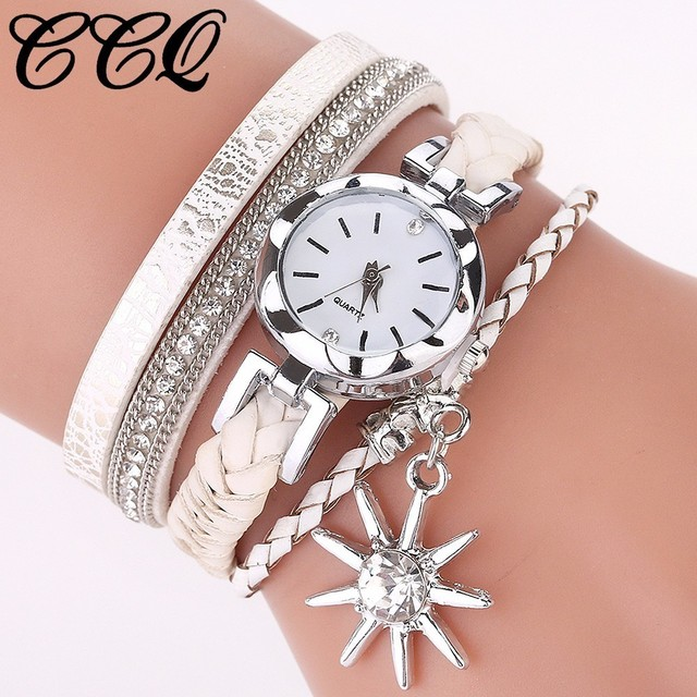 Hot Fashion Women Bracelet Watch Luxury Casual Leather Silver Crystal Clock Quar