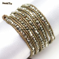 3mm 4mm pyrite crystal mixed gold brown leather wrap bracelet women