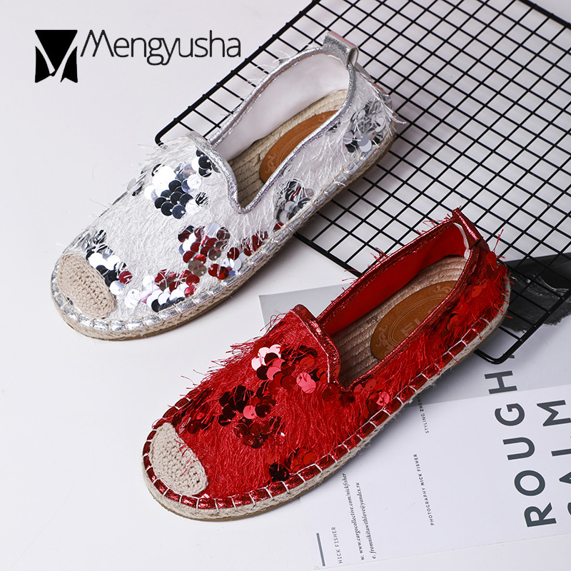 7d3b5bc82455d Detail Feedback Questions about Silver glitter shoes mujer spring summer  leisure fisherman shoes woman bling tassel breathable flats sequins  espadrilles ...