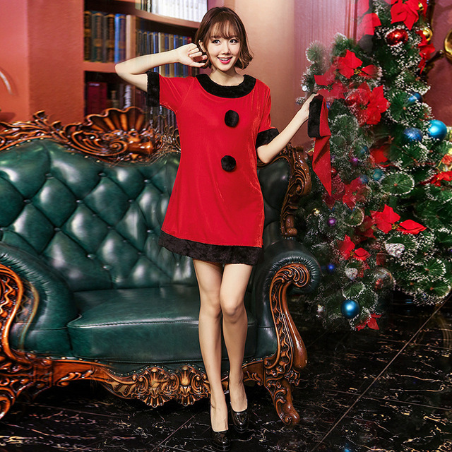 d16173c76da2 Free Shipping Women Sexy Santa Christmas Costume Fancy Dress Xmas Office  Party Outfit dress with hat