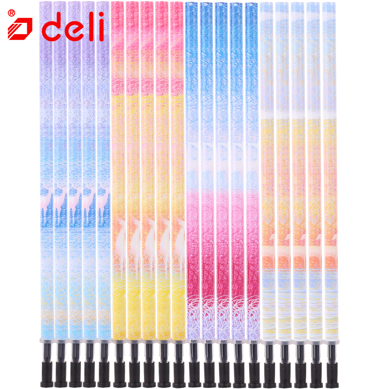 Deli Gel Pen Refills 12/20pcs Gel-Ink Refills Student Stationery Black Ink 0.35/0.5mm Refill Smooth Writing Office School Supply 15 pcs flash gel pen erasable pen refills length 111mm diameter 6mm leather fabric markings pens water soluble color refills