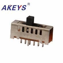 10PCS SS-16F03 Single pole six throw 6 position slide switch 7 pin verticle type handle heights can be customized