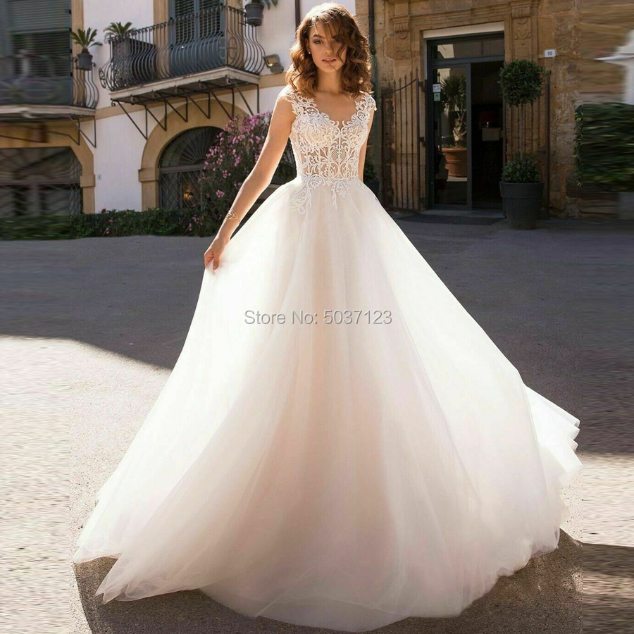 Beach A Line Wedding Dresses V Neck Cap Sleeves Vestido De Noiva Sleeveless Lace Appliques Backless Bridal Wedding Gown