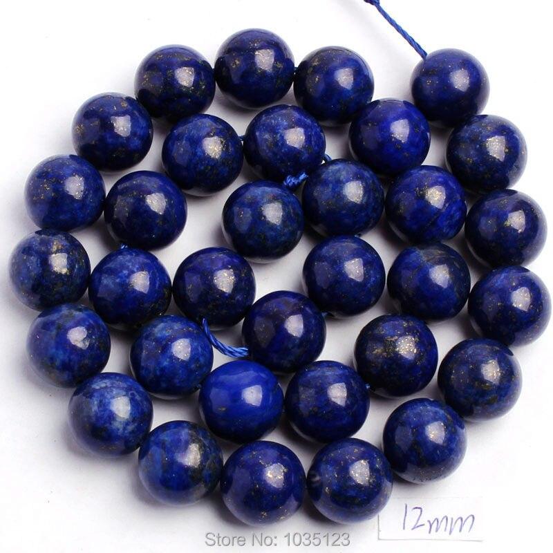 Free Shipping 468101214mm Natural Round Shape Lapis Lazuli Stone DIY Gems Loose Beads Strand 15
