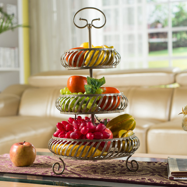 kitchen fruit basket islands at home depot storage rack plate wedding decoration living room three layers bathroom metal