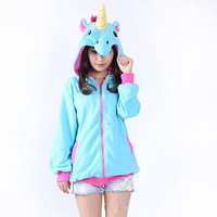 2017 New Brand Clothing Flannel Hoodies Jacket Cosplay Cartoon Anime Unicorn Lovely Sweater Fitness Unisex Adults
