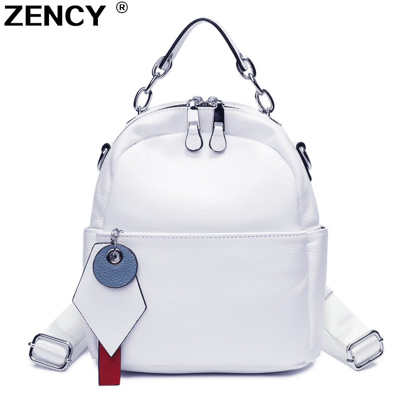 ZENCY 100% Genuine Cow Leather Silver Hardware Women Design Backpack Lady Girl Real Top Layer Cowhide Book Bag Style Knapsack