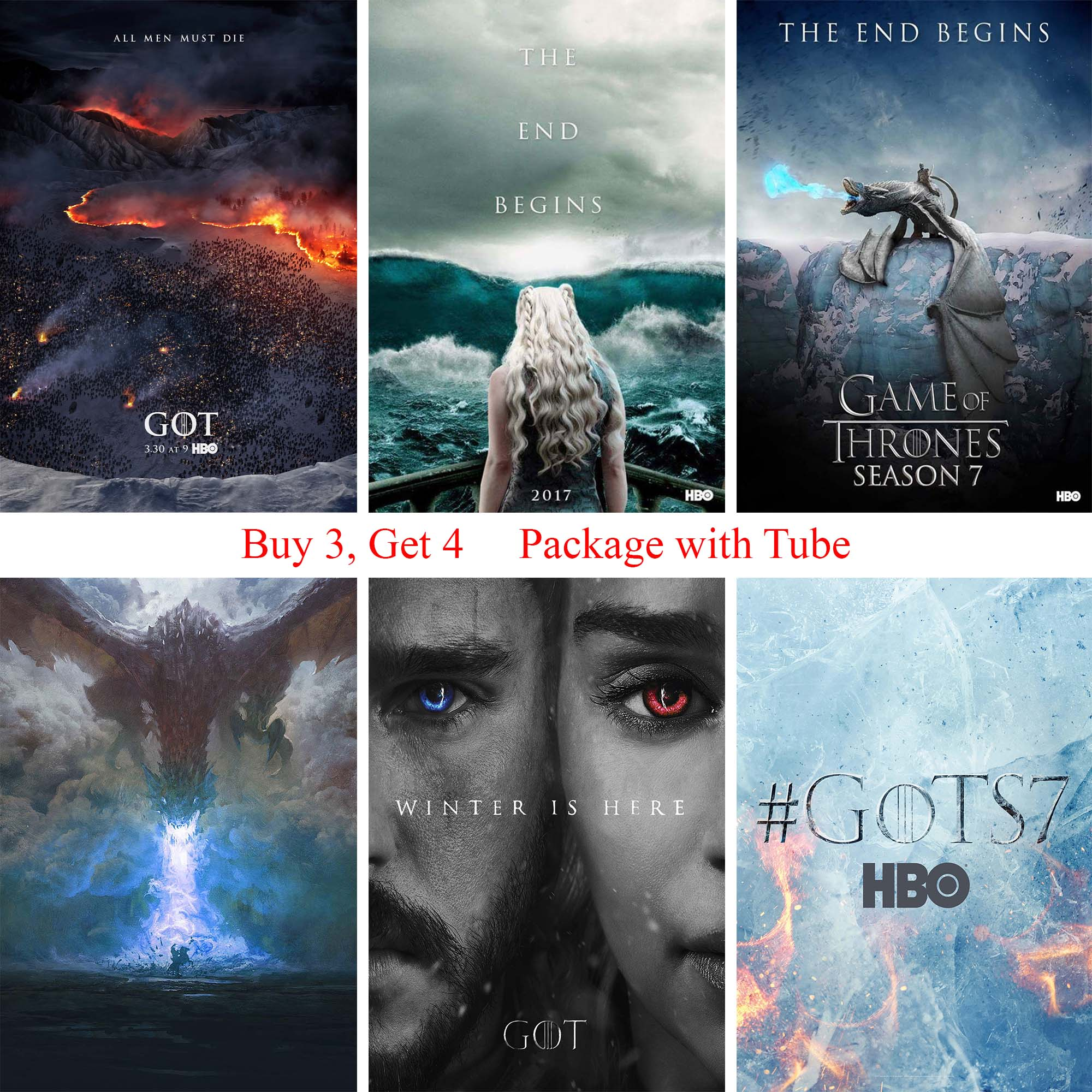 Game of Thrones Season 7 Posters White Coated Paper Prints Wall Decoration image