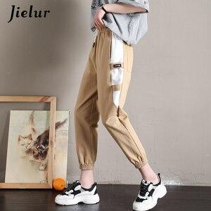 Image 5 - Jielur Patchwork Kargo Pantolon 2019 Yaz Yeni Kore Dar Bacak Siyah Haki Pembe Pantolon Kadın Serin Eğlence Harajuku Pantalon Mujer