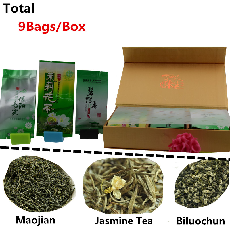 Vip 9 bags/box Organic Chinese Tea Different flavors biluochun Xinyang maojian jasmine tea green Oolong Secret Gift
