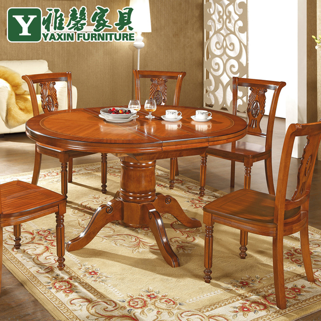 Ya Xin Oak Furniture Dinette Combination Of Solid Wood Dining Table Scalable Folding Simple Round And Six Chairs