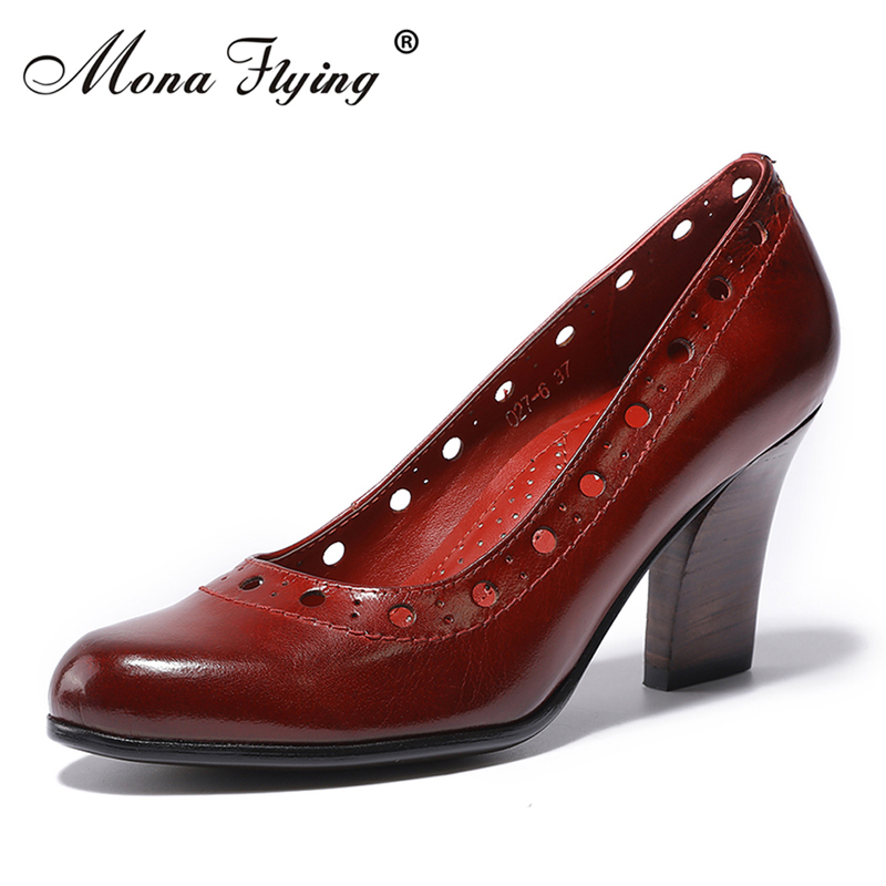 Women Genuine Leather Pumps Shoes 2018 Women Office Dress Shoes for Women Office Ladies Big Size Round Toe Handmade shoes 027-6 aiyuqi 2018 new 100% genuine leather women shoes big size 41 42 43 low heel pumps trend ladies shoes women dress shoes