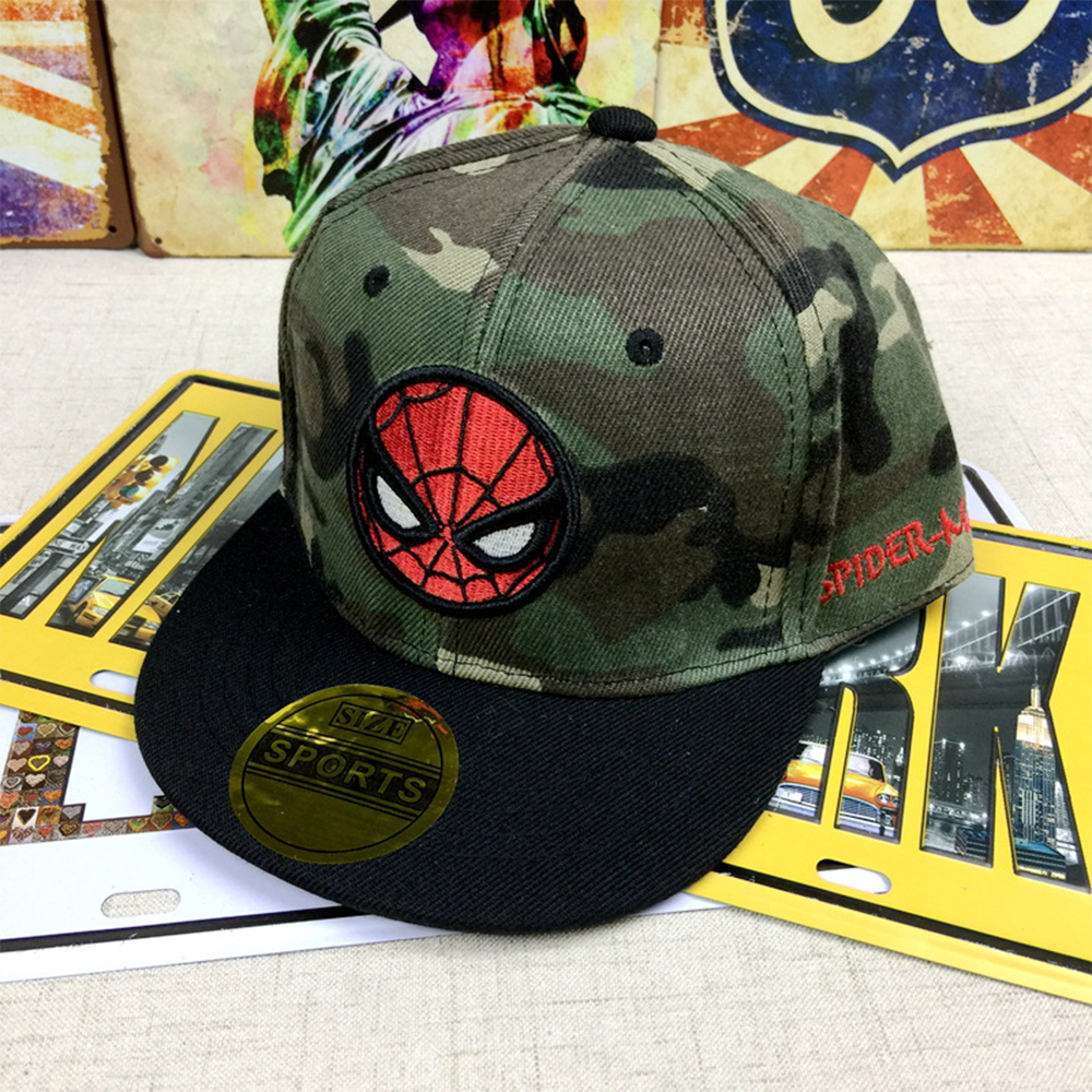 2018 Spiderman superman Flash cosplay embroidery   Baseball     Cap   kids Boy Girl Hip Hop Army Camouflage hat