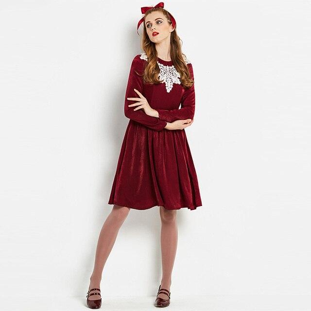 dd7e8c53f310 Young17 preppy style dress women spring wine red velvet dress a line zipper  white lace o