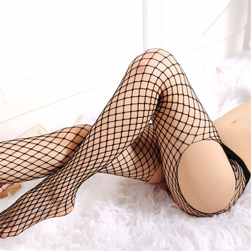 1PC Four Sides Sexy Women Lady Open Crotch Pantyhose Black Fishnet Fish Net Lingerie Mesh Hosiery Tights Black S07-2