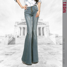 Free Shipping 2021 New Fashion Flare Long pants For Tall Women Spring Breasted Denim Boot Cut Jeans Plus Size Trousers 25-32