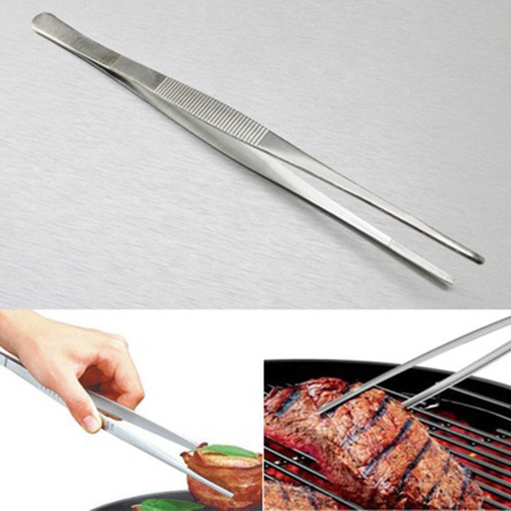 Stainless Steel Medical Tweezers Barbecue Clip Thickening 25cm Dental Precision Long Straight Forceps BBQ Safety Consumption