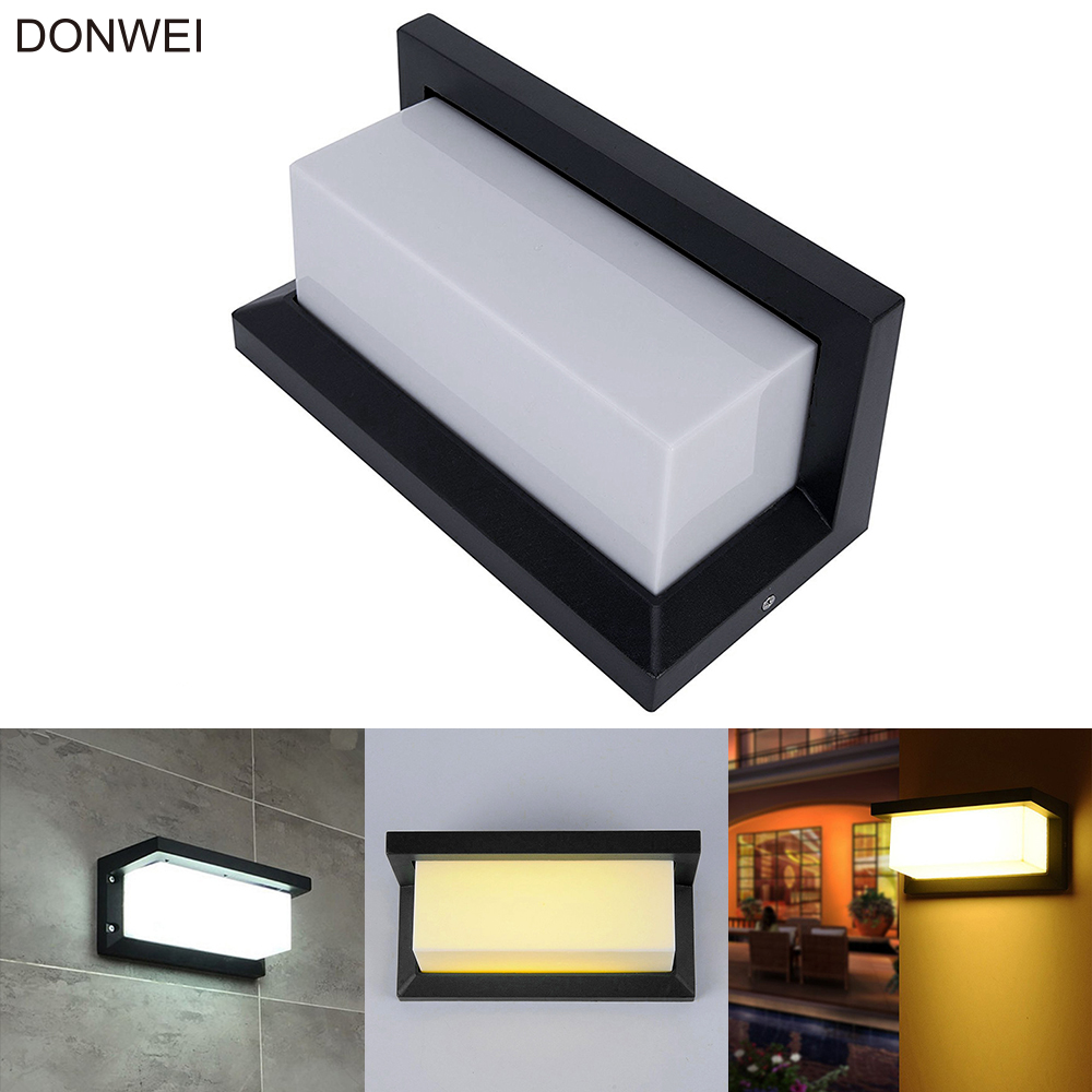Outdoor Waterproof 20LED 10W Wall Lamp Simple Style Square Aluminum Alloy Courtyard Corridor Aisle Porch Lights AC110V 220V