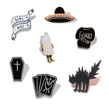 Fashion Black Gothic Witch Punk Badge Pins Skeleton Skull Cat Coffin Hat Brooches Bag Clothes Lapel Pin Accessories Jewelry Gift(China)