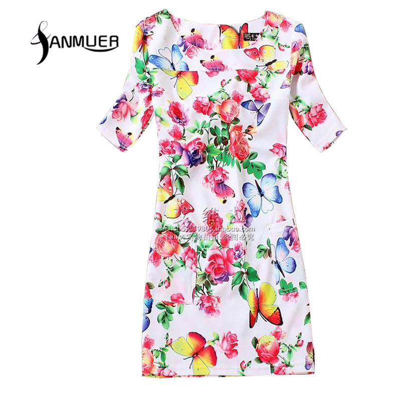 Sommerstil Damer Dreess 2017 Modeudskrivning afslappet kjole Kortærmet O-hals Bohemsk Sommerkvindekjole Vestidos Plus størrelse