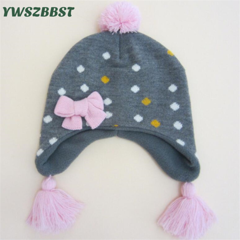 New Fashion Crochet Baby Hat for Girls Boys Kids Hats with Bow Autum Winter Knit Infant Cap 0-4 Years old