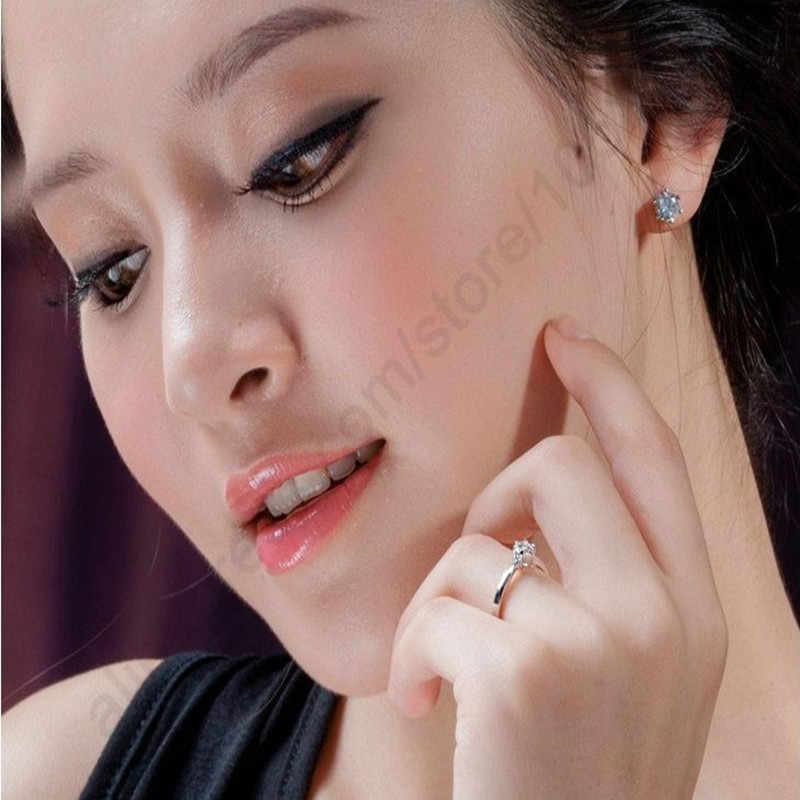 Élégant classique réel 925 en argent Sterling bagues bijoux cristal cubique Zircons 6 griffes femmes mariage Anillos