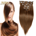 Color 8# Dark Brown Clip In Human Hair Extensions 7Pcs/Set Cheap Brazilian Straight Virgin Hair Clip In Hair Extensions 70-220G
