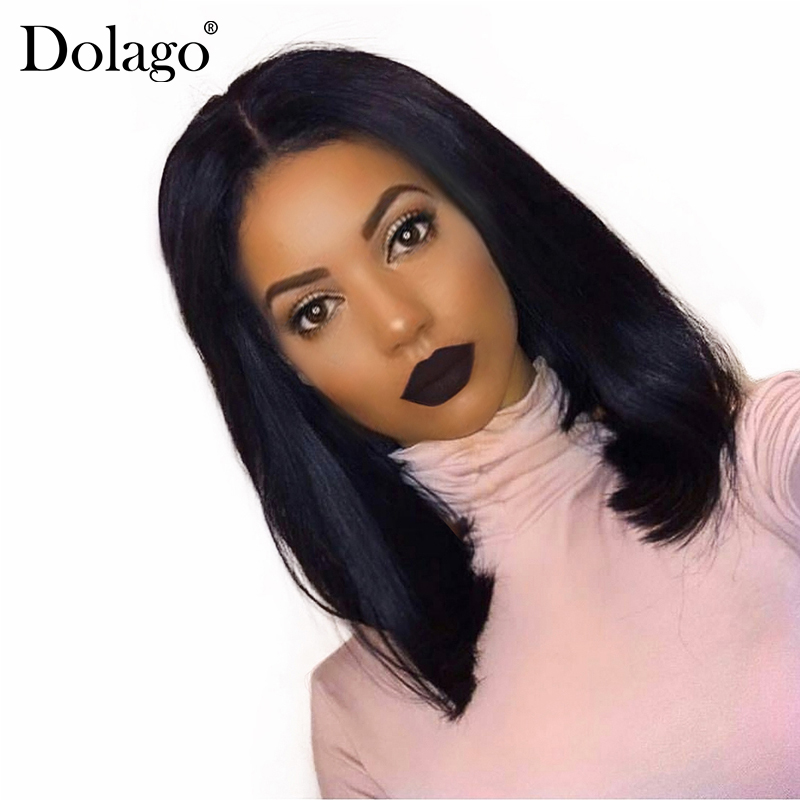 Short Bob Wig Straight Brazilian Frontal Wig With Baby Hair Short Lace Front Human Hair Wigs For Women 130% Dolago Remy Black