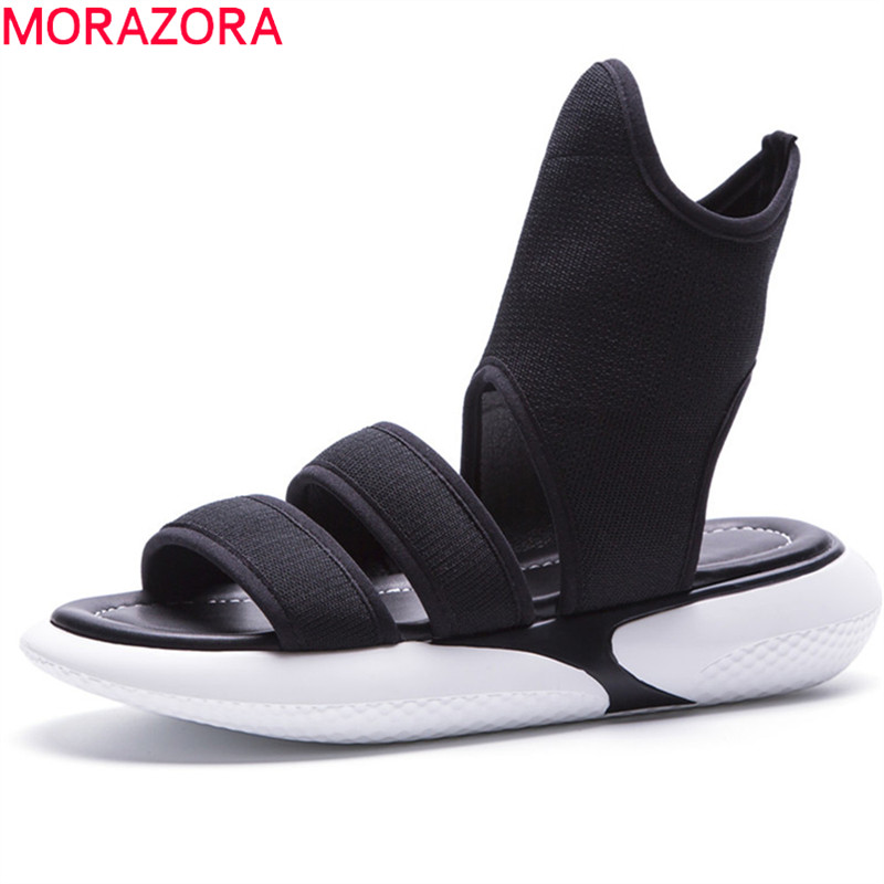 MORAZORA 2018 new arrival women sandals simple solid summer shoes punk fashion ladies shoes comfortable platform shoes woman 2018 new summer women sandals shoes fashion comfortable girls sandals footwear flat sexy causal ladies solid women shoes est1009