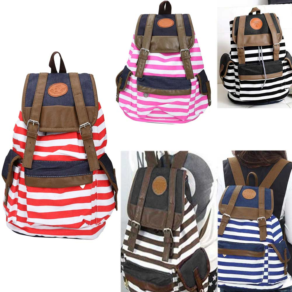 High Quality Simple Design Women Backpack Canvas Stripped Lady Women\'s Backpacks Female Casual Travel bag Bags mochila feminina handbook of magnetic materials volume 11