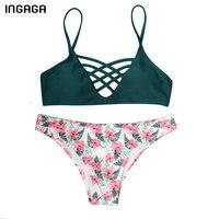 INGAGA 2018 New Bikini Set Sexy Lace Up Strap Swimsuit Female Swimwear Women Floral Printed Bottom