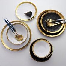 Assiettes à déjeuner vintage dorées céramique or noir assiettes de la vaisselle occidentale assiettes à déjeuner vintage dorées de noël restaurants à domicile assiettes de steak assiette à dessert